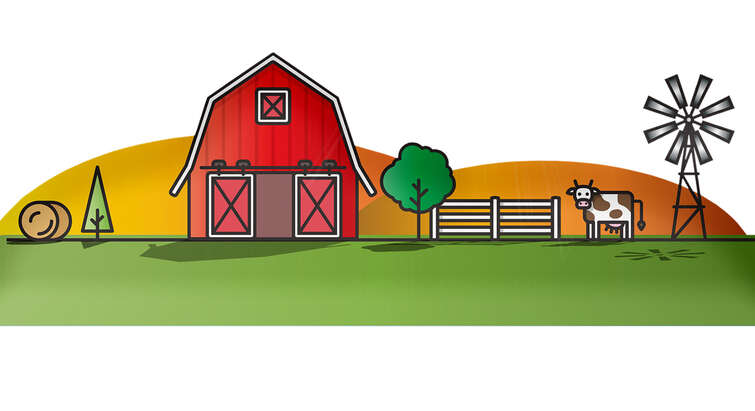 Illustration of a barn, a cow, a bale of hay, and a wind mill