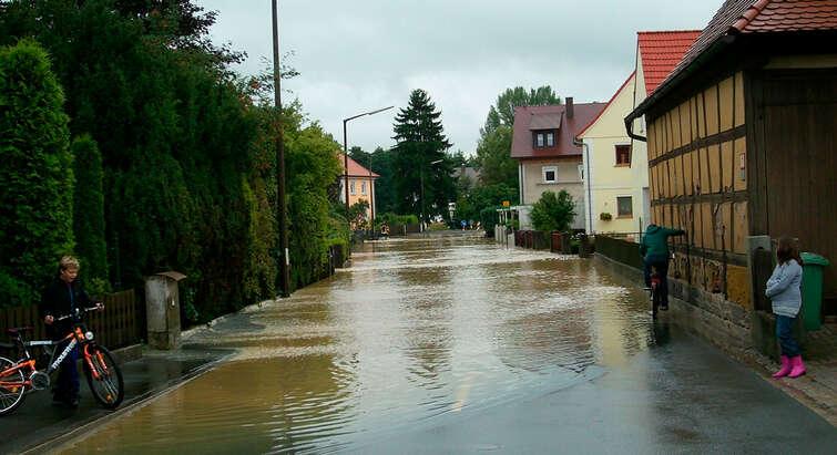 A flooded suburban street